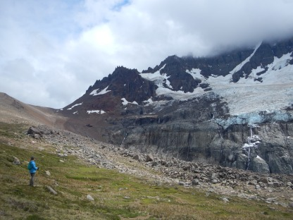 The glacier and waterfalls